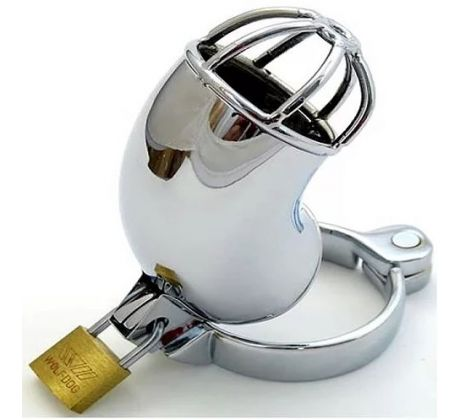 Chrome plated cock chastity with open cage ECC-103-00 by Ego Driven